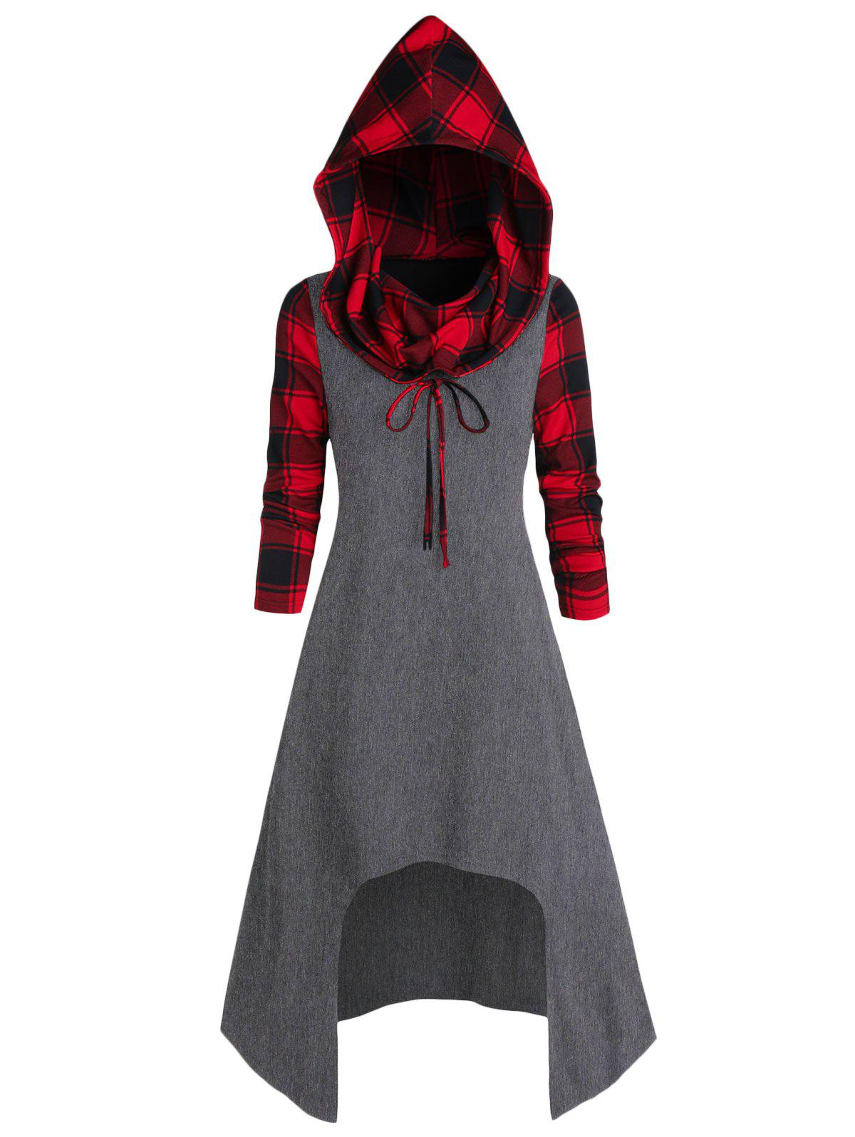Best Convertible Hooded Plaid High Low Midi Dress