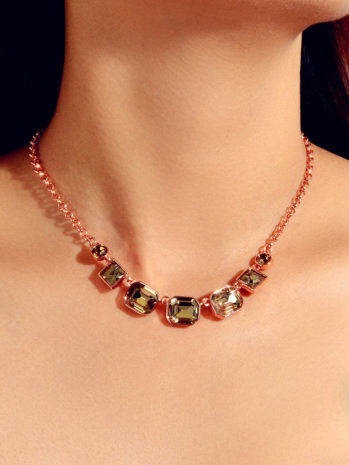 Online Geometric Faux Gemstone Chain Necklace