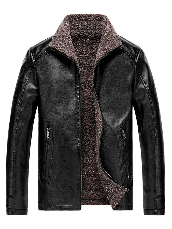 Faux Shearling Lined Zip Jacket vinyle