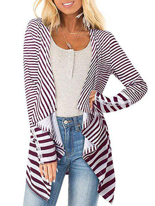 Outfits Striped Draped Lace Panel Jacket