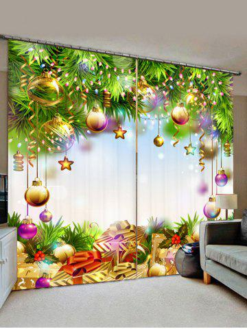 2 Panels Christmas Tree Balls Gifts Print Window Curtains