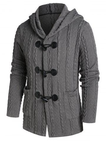 Hooded Double Pockets Horn Buckle Cable Knit Cardigan