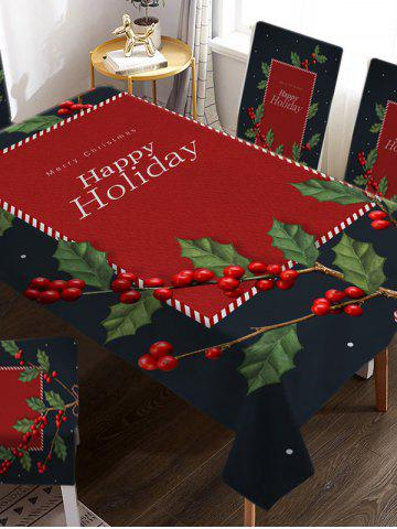 Christmas Tree Berry Print Fabric Tablecloth