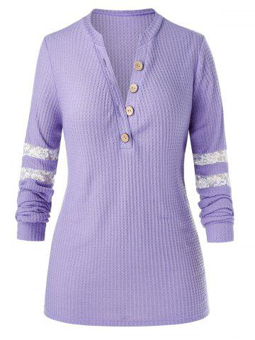 Plus Size Half Placket Lace Panel Knitted Sweater - PURPLE MIMOSA - M
