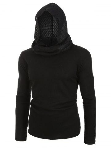 Plus Size Long Sleeve Solid Scarf Hooded T-shirt