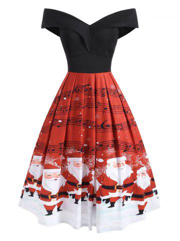 Folded Off Shoulder Christmas Santa Claus Musical Note Dress