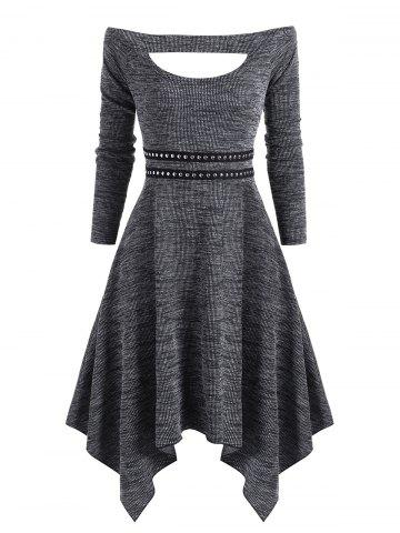 Knitted Off Shoulder Rivet Asymmetrical Dress