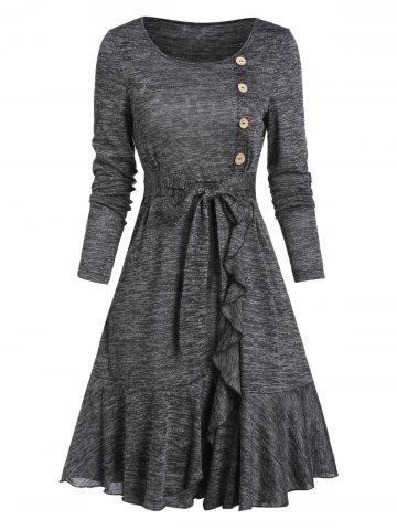Mock Button Belted Ruffled Hem Dress