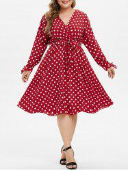 Knotted Belted Polka Dot Split Sleeve Plus Size Surplice Dress -