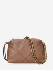 Simple Quilted PU Leather Crossbody Bag -