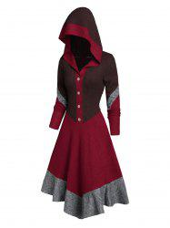 Color-blocking Button Hooded Gothic Knitted Dress -
