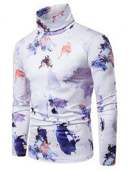 Colored Ink Painting Print Turtleneck T-shirt -