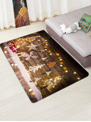 Christmas Tree Elk Wood Plank Floor Rug -