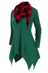 Handkerchief V Neck Plus Size Knitwear With Plaid Scarf -