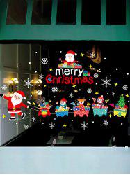 Christmas Santa Claus Train Print Removable Wall Art Stickers -