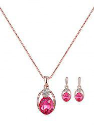 Faux Gemstone Oval Necklace and Earrings -