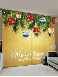 2 Panels Christmas Tree Balls Greeting Print Window Curtains -