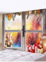 Christmas Gifts Snowman Window Print Tapestry Wall Hanging Art Decoration -