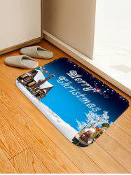 Christmas Snowman House Greeting Pattern Water Absorption Area Rug -
