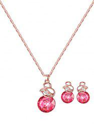 Faux Gem Rhinestone Necklace with Earrings -