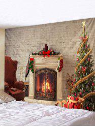 Christmas Tree Fireplace Printed Tapestry Wall Hanging Decor -