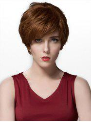 Side Part Straight Short Layered Human Hair Wig -