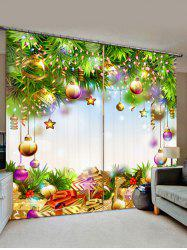 2 Panels Christmas Tree Balls Gifts Print Window Curtains -