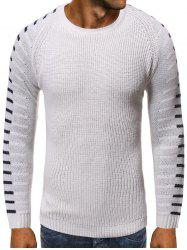 Striped Graphic Raglan Sleeve Pullover Sweater -