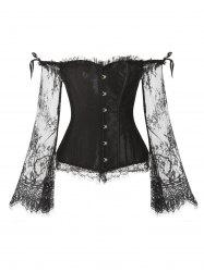 Ruffles Lace Sleeves Steel Boned Corset Set -