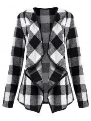 Plaid Draped Collarless Jacket -