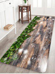 Christmas Tree Branch Wooden Grain Pattern Water Absorption Area Rug -