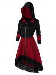 Plus Size Zipper Fly Hooded Two Tone Coat -