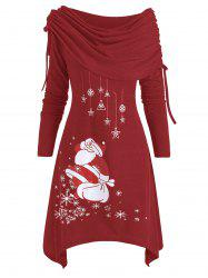 Christmas Santa Claus Cinched Off Shoulder Asymmetrical Dress -