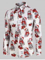 Christmas Rose Cat Pattern Long-sleeved Shirt -