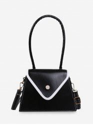 Faux Pearl Contrast Piped Flap Handbag -