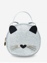 Cute Cat Top Handle Round Crossbody Bag -