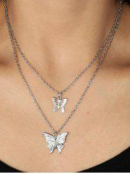 Hollow Butterfly Double Layered Necklace -