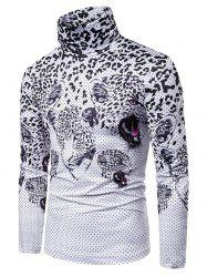 Leopard Polka Dots Print Turtleneck Long Sleeve T-shirt -