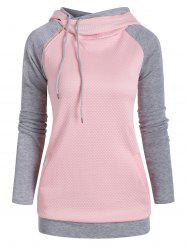 Heathered Textured Zipper Embellished Drawstring Hoodie -