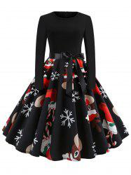 Plus Size Christmas Elk Snowflake Belted Dress -