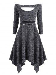 Knitted Off Shoulder Rivet Asymmetrical Dress -