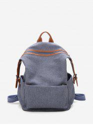 Contrast Trim Dual Buckle Casual Backpack -