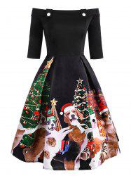 Christmas Dog Print Off Shoulder Party Dress -