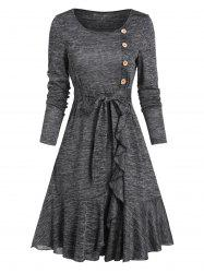 Mock Button Belted Ruffled Hem Dress -