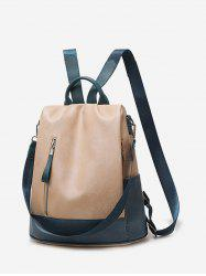 Two Tone PU Leather Casual Backpack -