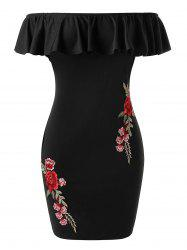 Plus Size Embroidered Flower Ruffle Fitted Dress -