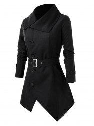 Plus Size Button Asymmetric Coat with Belt -