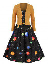 Plus Size Planet Print Dress with Cropped Cardigan -