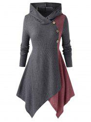 Plus Size Button Hooded Space Dye Panel Top -