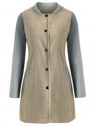 Two Tone Wool Blend Snap Button Coat -